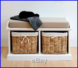 Tetbury White Bench with Cushion and Storage Baskets. Quality assembled bench