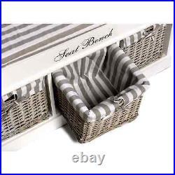 Three Basket Seat Bench 104x33x50cm