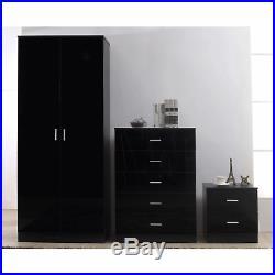 Three Piece Bedroom Furniture Set High Gloss Black 2 Door Wardrobe Chest Bedside