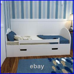 Toddler Children Bed Wooden Slat Bed Frame With Large Storage Drawer Kid Bedroom