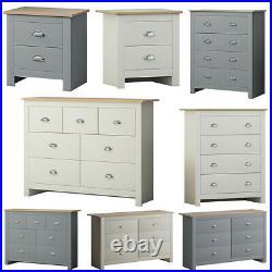 Traditional Bedside & Chest of Drawers Matt Cream & Grey Bedroom Storage