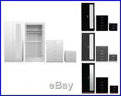 Trio Bedroom Furniture Set High Gloss 2 Door Mirrored Wardrobe Chest & Bedside