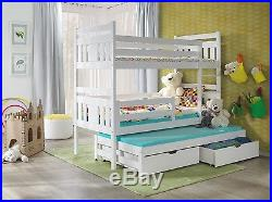 Triple Bunk Bed solid 3ft Pine Wooden Beds MATTRESSES & STORAGE new strong bed