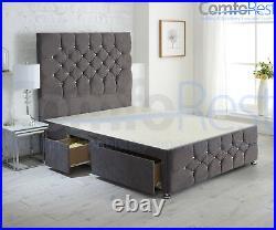 UNDER STORAGE CONTI ibex plus extra Divan Bed with Luxury Headboard UK MADE