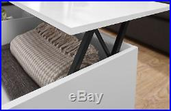 Ultimate Storage Lift Up Coffee Table Split Level Top Table Large Space White