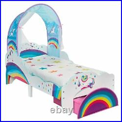 Unicorn Rainbow Toddler Bed With Storage & Canopy Junior Kids Bedroom