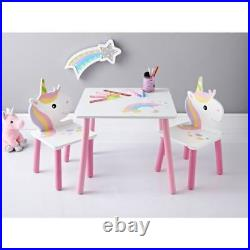 Unicorn Wooden Table & 2 Chairs Ideal For Kids