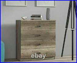 Urban Chest of 4 Drawers 80cm Rustic Bedroom Storage Unit Oak Effect Malcolm