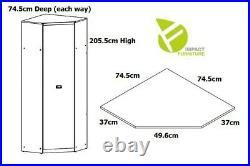 Urban Corner Wardrobe 1 Door Hanging Rail Shelves Storage Oak Effect Malcolm