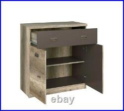 Urban Cupboard Storage Unit 80cm Cabinet with Drawer Oak Effect and Grey Malcolm