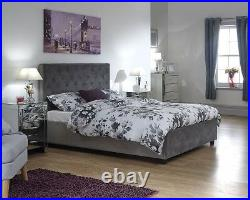 Utah Grey Fabric Ottoman Storage Bed with Solid Base 4ft6 Double & 5ft King