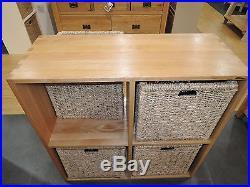 Vancouver Solid Oak Storage Unit & X4 Jute Baskets Code M6 Bathroom, Bedroom