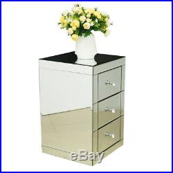 Vanity 3 Drawer Mirrored Glass Bedside Cabinet Bedroom Storage Table Furniture