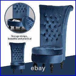 Velvet Dressing Table Stool Accent Chair Throne Fireside High Back Storage Seat