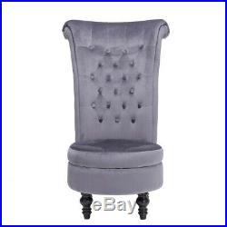 Velvet Dressing Table Stool Chair Throne Fireside Chair High Back with Storage