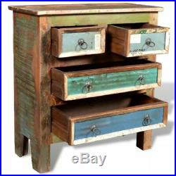 VidaXL Cabinet Solid Reclaimed Wood with 4 Drawers Standing Storage Cupboard