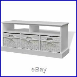 VidaXL Storage Bench Seat Woven Baskets Storage Cabinet Unit Bathroom Aarau