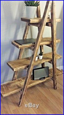 Vintage 4Tier Ladder Shelf Home Storage/Display Unit Bookcase Stand Plant Shelv