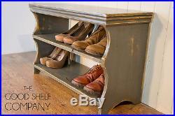 Vintage Grey Shoe Storage Rack Bench Seat GOOD SHELF Co