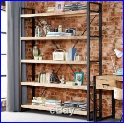 Vintage Industrial Bookcase Metal Shelving Unit Rustic Storage Display Cabinet