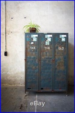 Vintage Metal Lockers Factory Storage Wardrobe Cabinet Retro