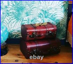 Vintage Pirate Treasure Chest Antique Brown Suitcase Set Storage Box Trunk 2pcs