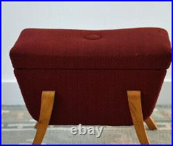 Vintage Retro Dressing Table Stool Storage in Red Wool made in Scandinavia