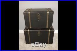 Vintage Retro Set Of 2 Trunks Ottomam Chest Storage Display Leather Detail Wood