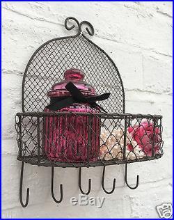 Vintage Rustic Wire Wall Shelf Unit Storage Basket With Hooks Shabby Chic Rack