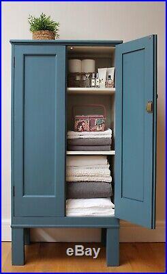 Vintage Solid Wood Linen Cupboard, Office Storage, Kitchen Larder, Tallboy, Blue