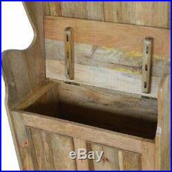 Vintage Style Monks Bench / Hall Bench With Lift Up Storage Seat Oak Finish