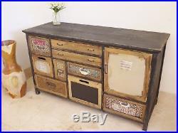 Vintage painted sideboard multi Colour Retro style Storage Chest console 108cm