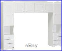 White Bedroom Storage Overbed Furniture Shelves Shutters Drawers Wooden Modern