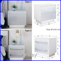 White Bedside Table Cabinet 2 High Gloss Drawer Nightstand RGB LED Light Bedroom