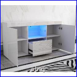 White Cabinet Sideboard High Gloss front TV Unit Big Storage Cupboard LED Lights