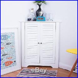 White Corner Cabinet Wooden Storage Cupboard Floor Unit Bathroom Bedroom Laundry