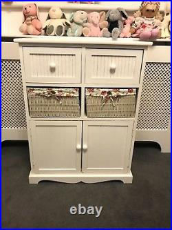 White Cupboard Wicker Chest Drawers Baskets Storage Pink Floral Girl's Bedroom