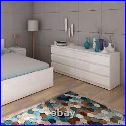 White Gloss Bedroom Furniture Chest of Drawers Bedside Table Wide Storage 3 5 6