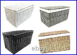 White Grey Black Strong Wicker Storage Chest Trunk Toy Blanket Box + Lining