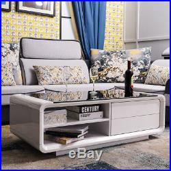 White High Gloss Coffee Table With Black Tempered Glass