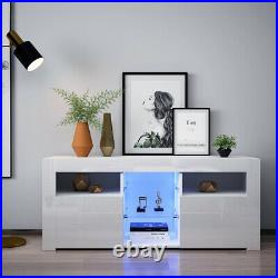 White High Gloss Fronts Cabinet Storage TV Cupboard RGB LED Lights Living Room