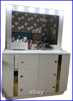 White Make Up Table Mirror Vanity Solid 6 Drawers Storage-Lights Included-CASH