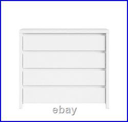 White Matt Large Chest 4 Drawers Modern Storage 105cm Wide Cabinet Kaspian NEW