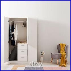 White Modern Wood Cupboard 3 Door 3 Drawer Wardrobe/Bedroom Furniture/Storage