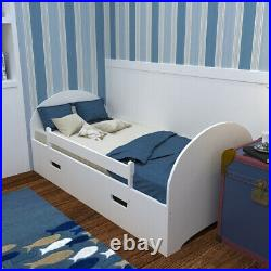White/Natural Pine Wood Single Bed with Storage Drawers Kids Bedroom Toddler Bed