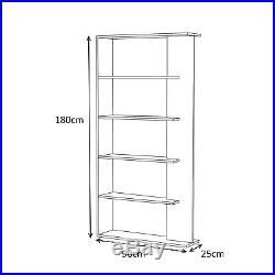 White/Oak Tall ALIDA 5 Tier Bookcase Storage Unit Room Divider Melamine
