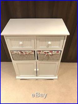 White Storage Unit 2 Cupboard 2 Wicker Drawer Basket Flower Pink Girls Furniture