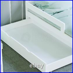 White Toddler Wood Bed Frame Childrens Kids Junior Bedroom Bedframe With Storage