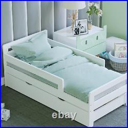 White Wood Bed Frame Toddler Childrens Kids Junior Bedroom Bedframe With Storage