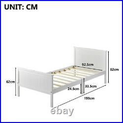 White Wooden Bed Frame 3ft Single Bed with Large Storage Space For Kids Adults